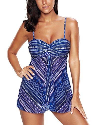 FLYILY Costumi Da Bagno Donne Tankini Bikini Moda Due Pezzi Costume Skyblue