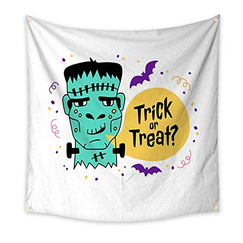 Modern Art Tapestry Halloween greeting card Trick or Treat inscription Hand drawn Doodle icons Zombie frankenstein bats bubble speech with the inscription Trick or Treat Vector illustr 70W x 70L Inch ()