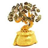 """We pay your sales tax 避邪十帝币招财摇钱树 Large 9"""" Feng Shui Money Tree Gold Coin Fortune Bag Pot Feng Shui Bonsai Style Prosperous Gathering w Qing Dynasty Lucky Coins"""