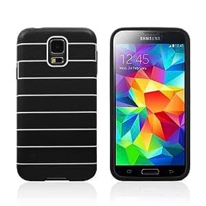 E-Age 2014 Newest Galaxy I9600 Stripe Tpu Soft Back Case for Samsung S5 (Black)