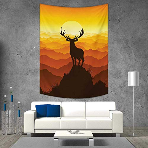 smallbeefly Antlers Beach Throw Blanket Deer at Sunset Adventure Wildlife Panoramic Valley Hill Silhouette Vertical Version Tapestry 70W x 93L INCH Burnt Sienna Amber Marigold