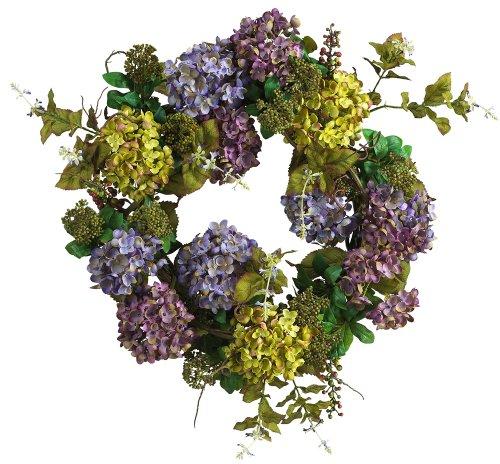 Nearly Natural 4666 Hydrangea Wreath, - Hydrangea Wreath