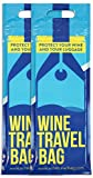 Wine Travel Bag - 2 Pack - Premium Safe Wine Bottle Protector, Reusable, Leak Proof With Thick Padded Material Inside to Protect your Wine. 2 x Zip Locks to Avoid Spills. Pack in Luggage & Suitcase.