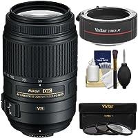 Nikon 55-300mm f/4.5-5.6G VR DX AF-S ED Zoom-Nikkor Lens with 2x Teleconverter + 3 UV/CPL/ND8 Filters + Kit for Digital SLR Cameras