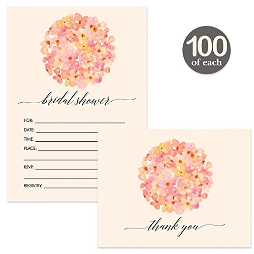 Bridal Shower Invitations ( 100 ) & Matching Thank You Cards ( 100 ) Set with Envelopes Bride Wedding Party Write-in-Style Guest Invites & Folded Thank You Notes Large Event Best Value Combination by Digibuddha