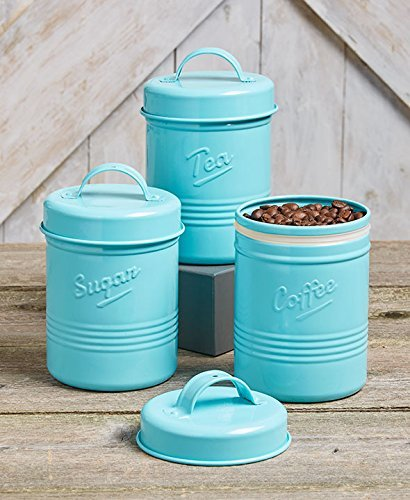Vintage Set Of 3 Blue Metal Kitchen Canisters Made From Steel Tea Sugar Coffee