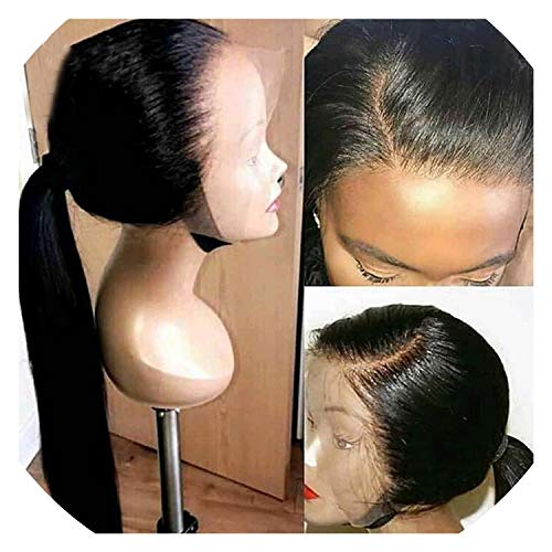 Get-in Human Hair Full Lace Wigs Pre Plucked Natural Hairline With Baby Hair Straight Brazilian Remy Hair Wigs Bleached Knots,12inches,130% -