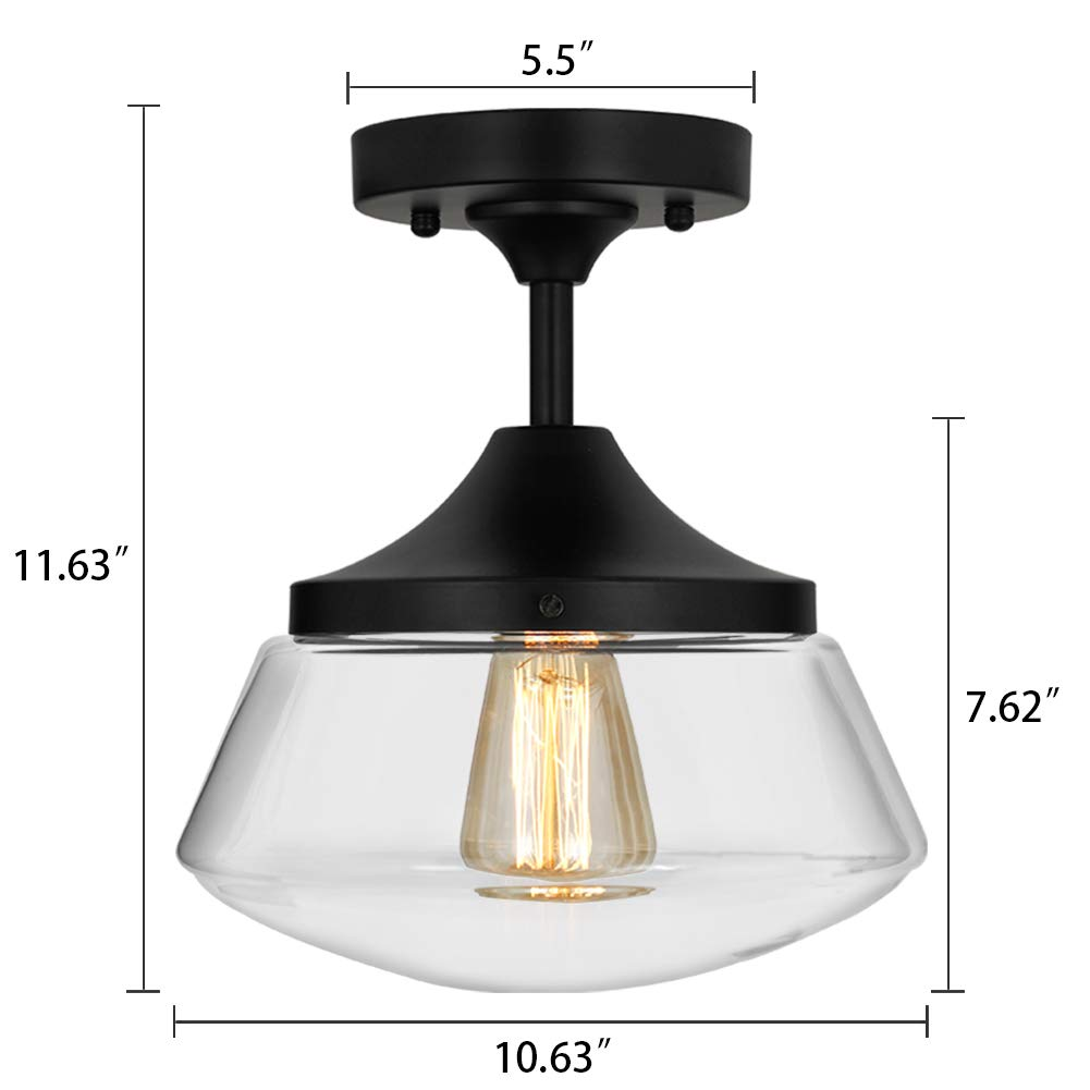 Industrial Semi-Flush Mount Ceiling Light, 10'' Clear Glass Schoolhouse Farmhouse Pendant Lighting Fixture with Matte Black Finish, UL Listed by LAMPUNDIT (Image #2)