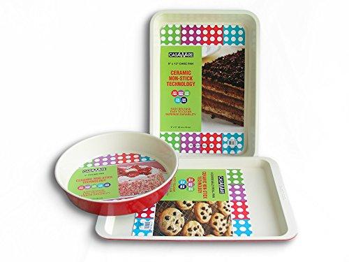casaWare 3pc Red Multi- Size Baking Set (Cookie Sheet/Rectangular Cake Pan/Round Cake Pan)