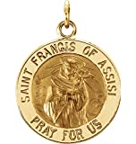 14k Yellow Gold St. Francis of Assisi Medal (12MM)