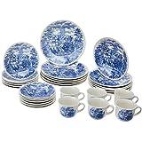 Aparelho de Jantar Chá 30 Peças Biona Cena Inglesa Branco/Azul