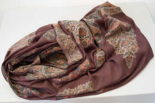 Wine Red Shawl Large Hand-Cut Kani Gold Jamavar Paisley Wool with Fine Details by Heritage Trading (Image #3)