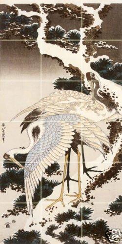 Art Hokusai Katsushika Mural Ceramic Backsplash Bath Japanese Tile Behind Stove Range Sink Splashback, Matte