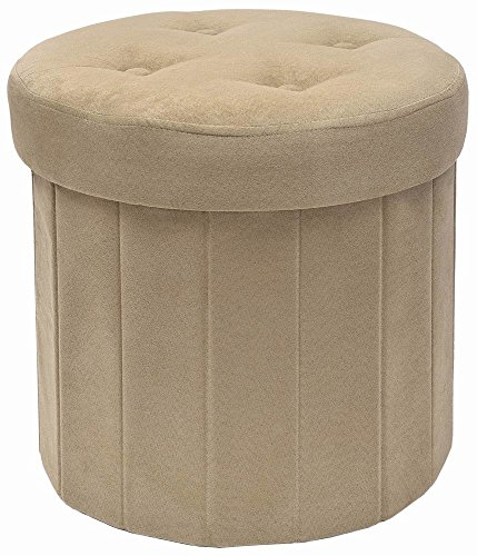 Tray Round Storage Ottoman (Fresh Home Elements 250053-020 Round Storage Ottoman, 15 by 15 by 15-Inch, Beige Microsuede)