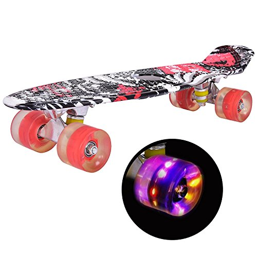 22 Complete Retro Plastic Skateboards with Light Up Wheels Boys Girls and Beginners for Kids GYMAX Mini Cruiser Skateboard