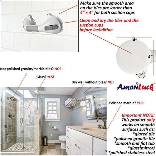 AmeriLuck Bath and Shower Suction Grab/Grip Bar with Indicator Shower Handle for Bathroom - 16.5in Medical Assist Balance Hand Rail for Tub Safety - for Elderly/Senior/Handicap (16.5in, 2 Pack) by AmeriLuck (Image #4)