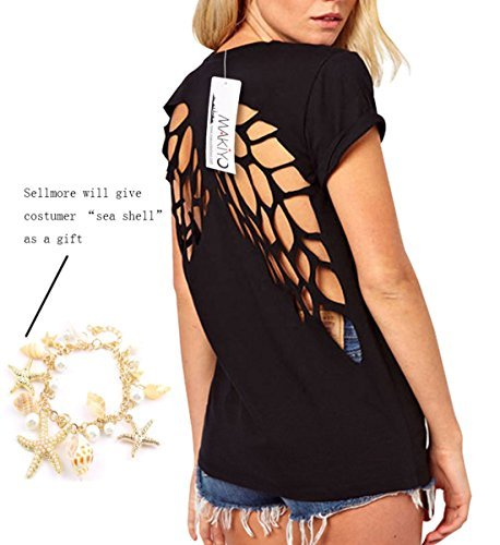 Moonar® Summer Scoop Neck Lazer Cut Angel Wings Short Sleeve Casual Tops T Shirt (M, Black)