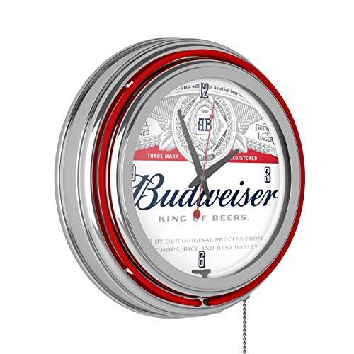 Trademark Gameroom Budweiser Chrome Double Rung Neon Clock - Label Design