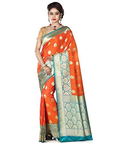 Maahir Garments Exclusive Indian Ethnicwear Orange Coloured Banarasi Katan Silk Handloom Saree by Maahir Garments