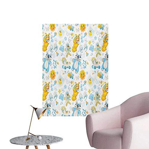 Anzhutwelve Nursery Wall Sticker Decals Its a Boy Image with Happy Sun Raccoon in Pyjamas Blue Hats and PacifierEarth Yellow Aqua W32 xL48 Custom -
