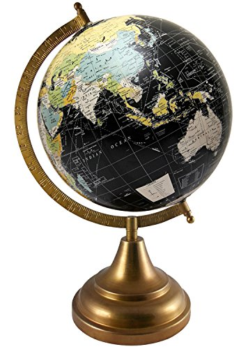 Educational Political Map Globe Office Decor Black Antique Desktop Ocean Rotating Globes Geography Gift World Decorative Earth 8 Inches Diameter