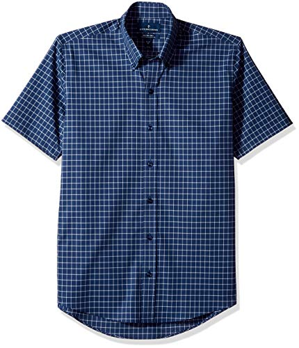 BUTTONED DOWN Men's Slim Fit Stretch Button-Collar Short-Sleeve Non-Iron Shirt, Navy Check, 17