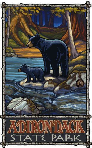 Northwest Art Mall Adirondack State Park Bear and Cub in Stream Painting by Paul A Lanquist, 11-Inch by 17-Inch