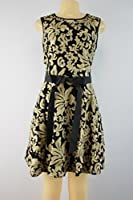 Betsy & Adam Sequined Flare Dress Black Gold Size 10P