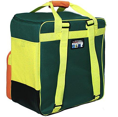 Brubaker Kombi Set Carver 2.0 - Skisack 170 cm und Skischuhtasche für 1 Paar Ski + Stöcke + Schuhe + Helm Petrol Gelb Orange tQfubFw1