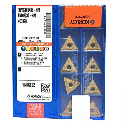 Carus Tool KORLOY TNMG160408-HM NC3020 Carbide Inserts CNC Tool 10Pcs//Box