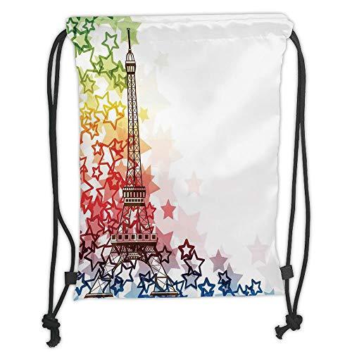 New Fashion Gym Drawstring Backpacks Bags,Paris,Colorful Image Eiffel Tower with Stars Love Romance International Town Landmark,Green Yellow Red Soft Satin,Adjustable String Closu