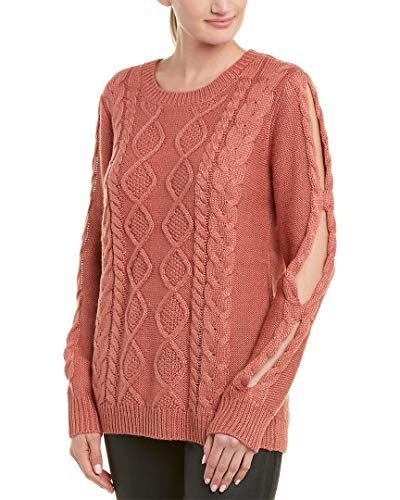 Jack by BB Dakota Junior's Wanna Spoon Cable Knit Sweater Wih Sleeve Cutouts, Canyon Rose, Small