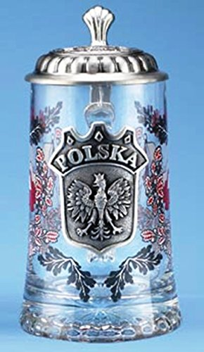 Polska Glass Beer Stein with Pewter Lid and Pewter Medallion by M. Cornell