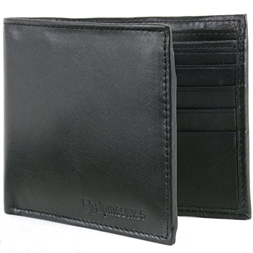 Black Wallet - Alpine Swiss Mens Leather Flipout ID Wallet Bifold Trifold Hybrid Black