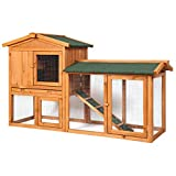 Sunnyglade Chicken Coop Large Wooden Outdoor Bunny Rabbit Hutch Hen Cage with Ventilation Door, Removable Tray & Ramp Garden Backyard Pet House Chicken Nesting Box