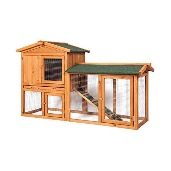Sunnyglade Chicken Coop Large Wooden Outdoor Bunny Rabbit Hutch Hen Cage with Ventilation Door, Removable Tray & Ramp Garden Backyard Pet House Chicken Nesting Box 1