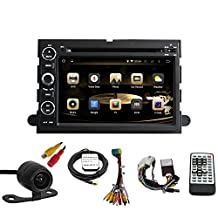 TLTek Car GPS System For Ford Fusion/Explorer/Mustang/Ford F150/F250/F350/F450/Focus/Edge/Expedition 7 Inch HD 1024*600 Muti-touch Screen Quad Core Android DVD Player+Backup Camera+North America Map