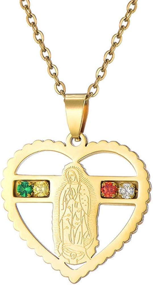316L Acero Inoxidable Amor corazón Virgen María con Collar de Piedra de rin para Nuestra señora joyería Regalo