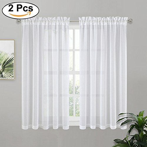PONY DANCE White Sheer Curtains Linen Look Short Voile Curtain Panels Home Deco Elegant Rod Pocket Transparent Drapes for Small Windows Kitchen Bedroom, 55