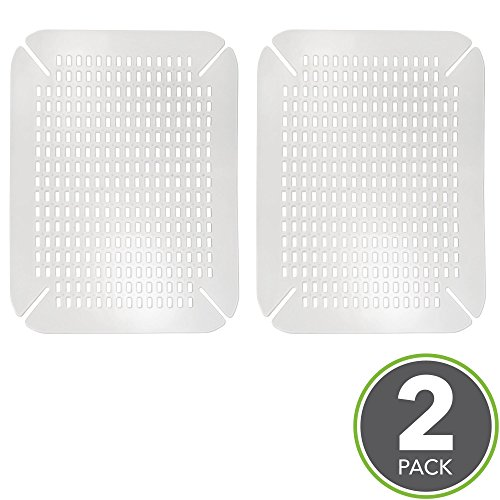 mDesign Adjustable Kitchen Sink Protector Mat - Pack of 2, Clear