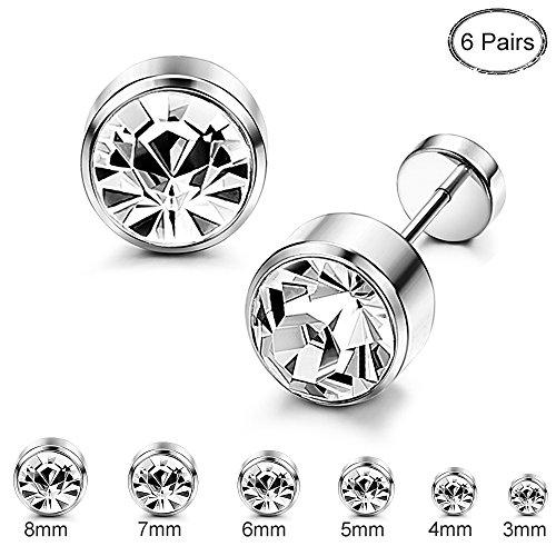 - ORAZIO 6 Pairs Stainless Steel CZ Stud Earrings for Women Girls Cartilage Stud Earrings Screwback Silver Tone 3-8mm