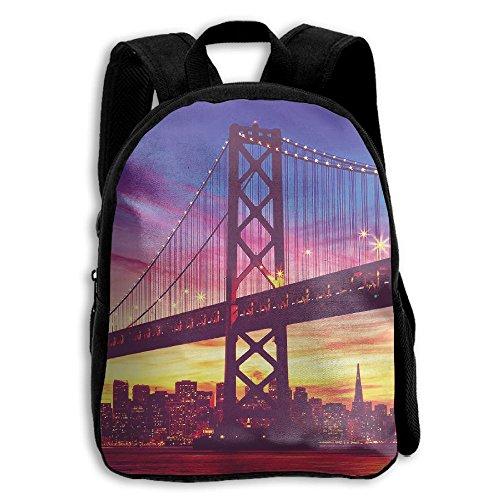 San Francisco Bay Bridge Cityscape Island Sunset Kid Boys Girls Toddler Pre School Backpack Bags Lightweight (Light Island Portland)