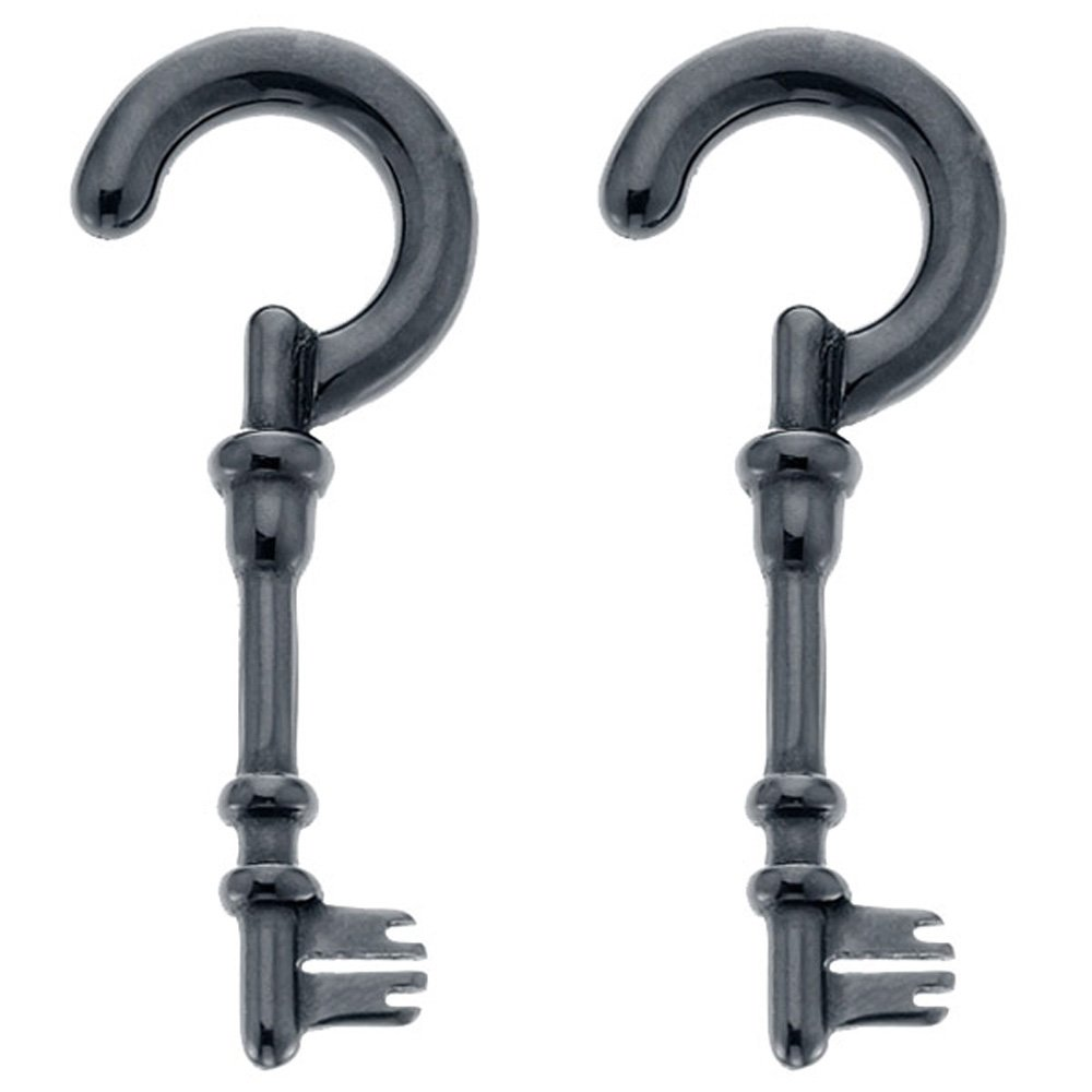 8G Black Acrylic Skeleton Key Spiral Taper Plug Pair