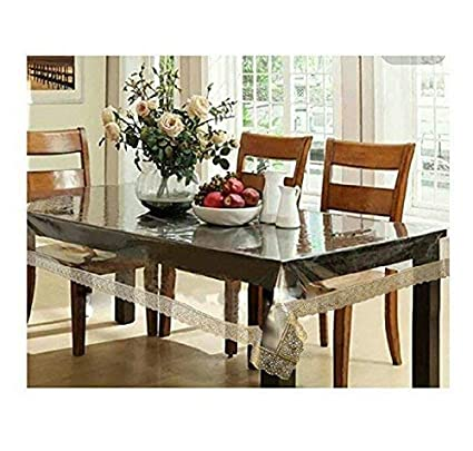 Generic Transparent Waterproof Table Cover 8 Seater 60X108 inches. 25MM Thick with Golden Laces