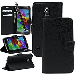 Galaxy S5 Case, OMIU(TM) Durable and Anti-dirty Lichee Pattern Leather Carrying Case Cover Fit For Samsung Galaxy S5 I9600(Black),With Credit Cards Slots and A Stylus Pen