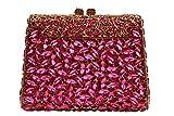 Yilongsheng Women Crystal Rhinestones Clutches YL-0752 (13 Colors) (hot pink)