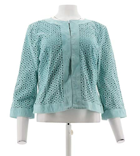 Isaac Mizrahi Perforated Cropped Suede Jacket Turquoise Mist 12# A274646 from Isaac Mizrahi Live!