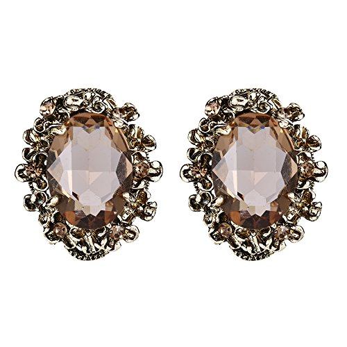 - BriLove Victorian Style Stud Earrings for Women Crystal Floral Scroll Cameo Inspired Oval Earrings Champagne Antique-Gold-Toned