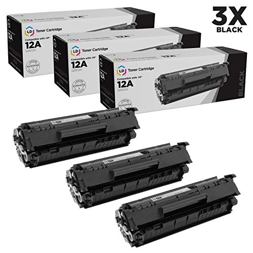 LD Compatible Toner Cartridge Replacement for HP 12A Q2612A (Black, 3-Pack) (Hp 12a Toner Cartridge)