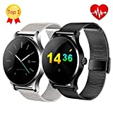 K88H Smart Watch with Heart Rate Monitor Stainless Steel Band IPS Screen Bluetooth Smartwatch Wristwatch for iOS and Android (Black)